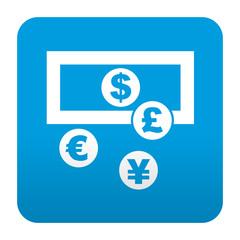 Etiqueta tipo app azul simbolo cambio de divisas