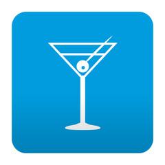 Etiqueta tipo app azul simbolo coctel