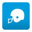 Etiqueta tipo app azul simbolo casco de futbol americano