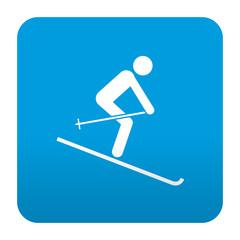 Etiqueta tipo app azul simbolo esquiador