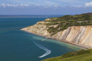 England, Isle of Wight, Ansicht von Alum Bay und Kreide Klippe im The Needles