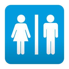 Etiqueta tipo app azul simbolo unisex