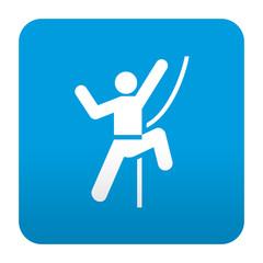 Etiqueta tipo app azul simbolo rocodromo