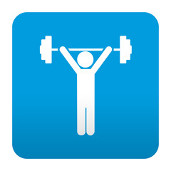 Etiqueta tipo app azul simbolo halterofilia