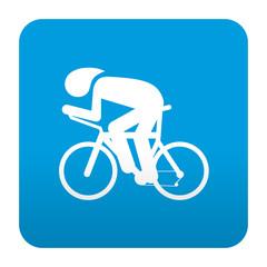 Etiqueta tipo app azul simbolo carrera ciclista