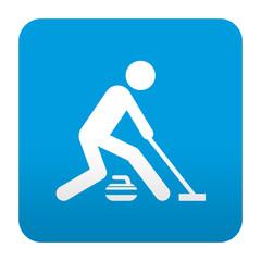 Etiqueta tipo app azul simbolo curling