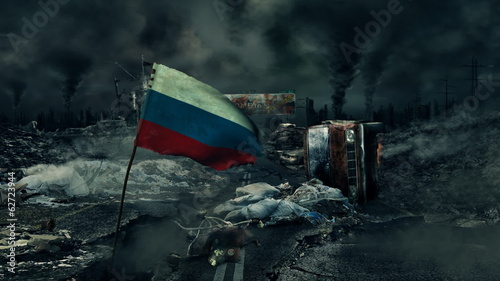 Post apocalyptic scene - Russian flag