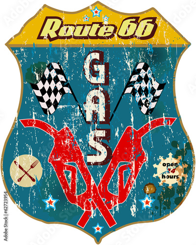 vintage route 66 gas station sign,vector eps 10