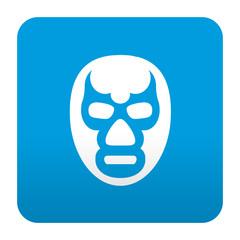 Etiqueta tipo app azul simbolo mascara de lucha libre
