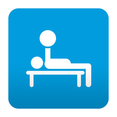 Etiqueta tipo app azul simbolo banco de entrenamiento