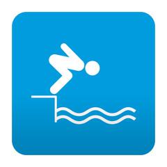 Etiqueta tipo app azul simbolo nadador
