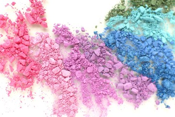 Colorful crushed eyeshadow close up