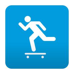 Etiqueta tipo app azul simbolo skateboard