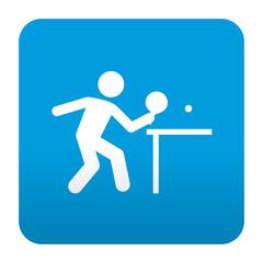 Etiqueta tipo app azul simbolo tenis de mesa