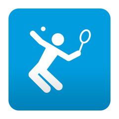 Etiqueta tipo app azul simbolo tenista