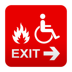 Etiqueta tipo app roja simbolo salida para minusvalidos