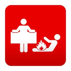 Etiqueta tipo app roja simbolo manta antiincendios