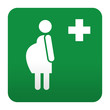 Etiqueta tipo app verde simbolo sanitario embarazada