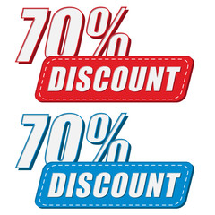 70 percentages discount in two colors labels, flat design
