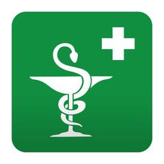 Etiqueta tipo app verde simbolo sanitario farmacia