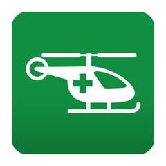 Etiqueta tipo app verde simbolo sanitario helicoptero medico