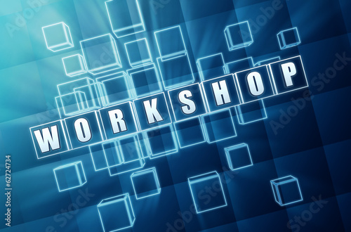 workshop in blue glass blocks