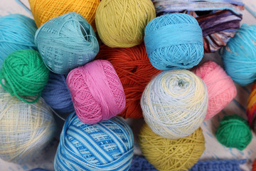 Yarns for knitting close-up background