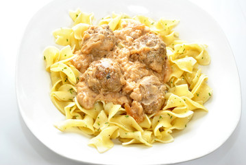 Swedish Meatballs Served on Buttered Noodles
