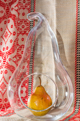 Pear in Pear Shape Glass Vase