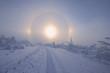 Deutschland, Sachsen, Blick auf die verschneite Landschaft, Sundog