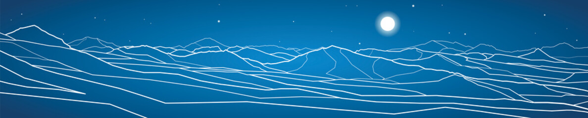 Vector panorama, mountains landscape