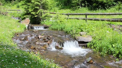 the rapid flow of mountain stream