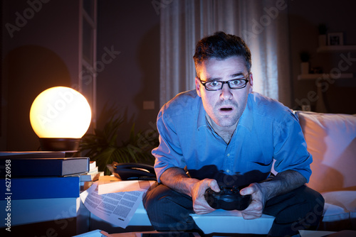 Playing videogames late at night