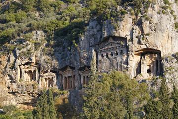 Türkei, Ansicht der lykischen Felsengräber von Kaunos