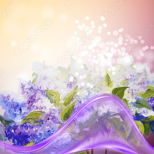 Lilac flowers background.