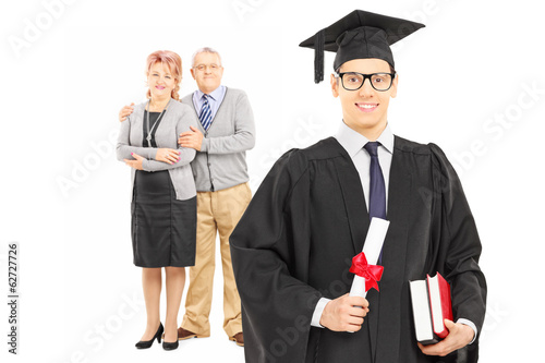 College graduate and his proud parents