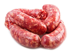 a fresh sausage isolated on white background