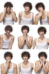 Mann macht verschiedene Gesichter