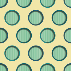 Seamless background tile with stripes and 3d cut out dot effect