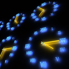 3D high technology business background with clocks