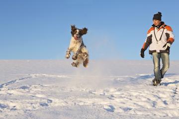 Deutschland, Bayern, English Springer Spaniel Hundebesitzer und spielen im Schnee