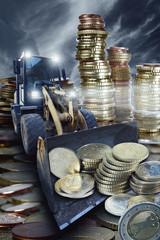 Bagger mit Euro-Münzen