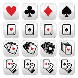 Fototapety Playing cards, poker, gambling buttons set