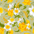 Retro flower seamless pattern - daffodils