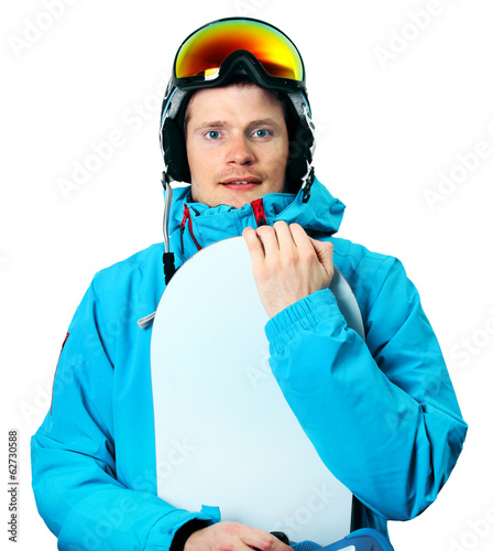 snowboarder with board isolated on white