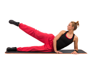 Female Stretching On Aerobic Mat Before Workout