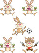 Cute Rabbits Cartoon Mascot Characters 4. Set Collection