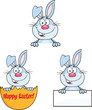 Cute Rabbits Cartoon Mascot Characters 10. Set Collection