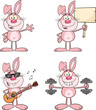 Cute Rabbits Cartoon Mascot Characters 11. Set Collection