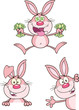 Cute Rabbits Cartoon Mascot Characters 15. Set Collection